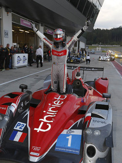 Race winner Pierre Thiriet celebrates