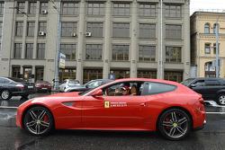 Kamui Kobayashi drives a Ferrari around Moscow