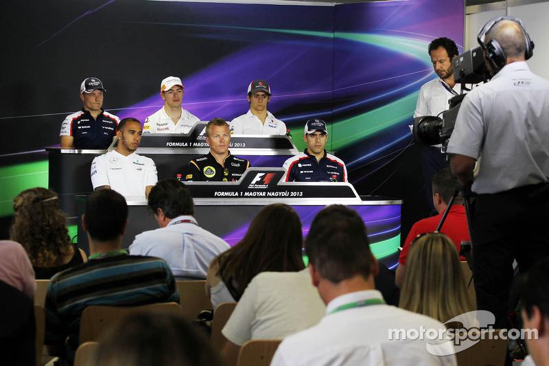 The FIA Press Conference: Valtteri Bottas, Williams; Paul di Resta, Sahara Force India F1; Esteban Gutierrez, Sauber; Lewis Hamilton, Mercedes AMG F1; Kimi Raikkonen, Lotus F1 Team; Pastor Maldonado, Williams