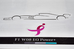 Pink ribbon logo on the floor of the Mercedes AMG F1 garage