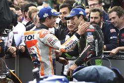 Race winner Marc Marquez, Repsol Honda Team, Johann Zarco, Monster Yamaha Tech 3,