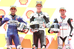 Pole sitter Joan Mir, Leopard Racing, second place Jorge Martin, Del Conca Gresini Racing Moto3, third place John McPhee, British Talent Team