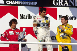 Podio: Nelson Piquet,Williams, Alain Prost, McLaren y Ayrton Senna, Lotus