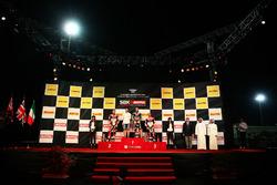 Podio: il vincitore della gara Jonathan Rea, Kawasaki Racing, il secondo classificato Chaz Davies, Ducati Team, il terzo classificato Marco Melandri, Ducati Team