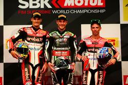 Podium: Racewinnaar Jonathan Rea, Kawasaki Racing, tweede plaats Chaz Davies, Ducati Team, derde plaats Marco Melandri, Ducati Team