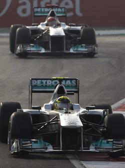 Nico Rosberg, Mercedes GP W02, leads Michael Schumacher, Mercedes GP W02
