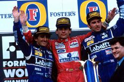 Подіум: Ален Прост, Williams, Айртон Сенна, McLaren, Деймон Хілл, Williams
