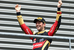 Podium: derde plaats Romain Grosjean, Lotus F1 Team