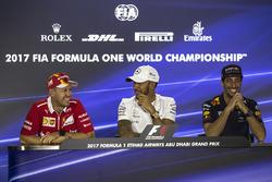 Sebastian Vettel, Ferrari, Lewis Hamilton, Mercedes AMG F1 and Daniel Ricciardo, Red Bull Racing in the Press Conference
