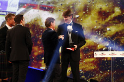 Marcus Gronholm congratulates Malcolm Wilson on the Rally Car of the Year Award