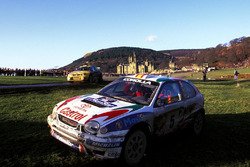 The Toyota Corolla of Carlos Sainz, Luis Moya after failing within yards of the finishing line in Margam Park losing them the 1998 World Rally Championship