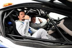 Actor Orlando Bloom with Alejandro Agag, Formula E CEO, CEO, Formula E, in the Qualcomm BMW Safety Car