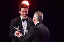 Mick Doohan gives the award for Laureus World Team of the Year to Toto Wolff, Executive Director Mercedes AMG F1