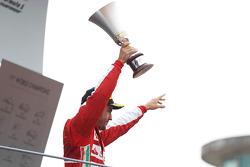 Fernando Alonso, Ferrari celebrates his second position on the podium