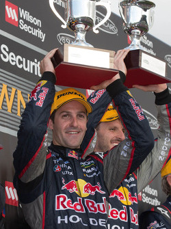 Race winners Jamie Whincup and Paul Dumbrell, Red Bull Holden celebrate