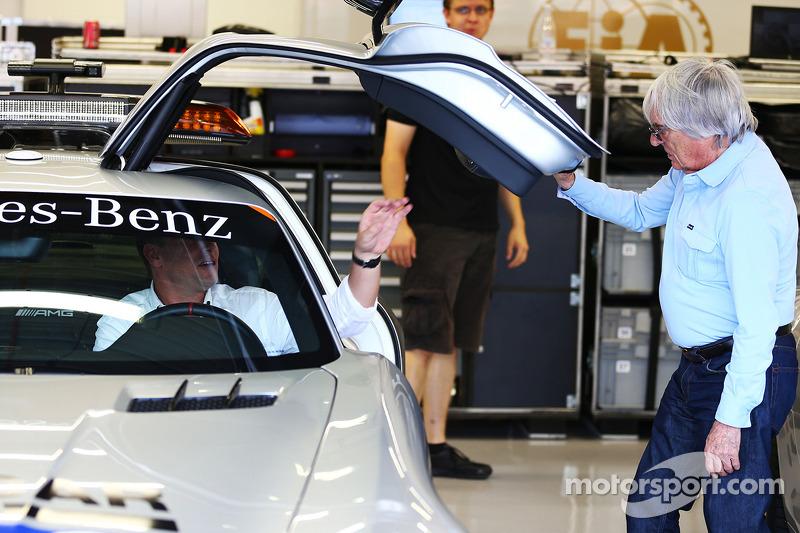 Bernie Ecclestone, CEO Formula One Group, Bernd Maylander, FIA Safety Car Driver