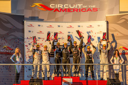 PC podium: class winners Kyle Marcelli and Chris Cumming, second place Mike Guasch and Dane Cameron, third place Jonathan Bennett and Tom Kimber-Smith