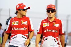 Felipe Massa, Ferrari and Fernando Alonso, Ferrari on the drivers parade