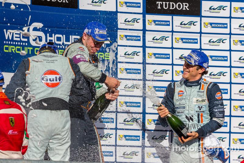 Aston Martin drivers celebrate LMGTE Pro win