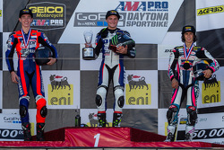 Sportbike podium: 1st place Cameron Beaubier, 2nd place Jake Lewis, 3rd place JD Beach