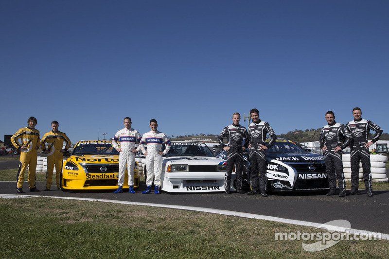 The Nissan teams pose for a photo