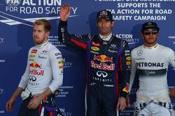 Ganador de la pole Mark Webber, segundo Sebastian Vettel, tercero Lewis Hamilton
