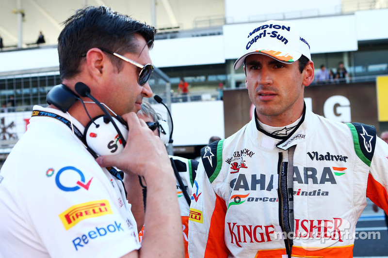 Adrian Sutil, Sahara Force India F1 and Bradley Joyce, Sahara Force India F1 Race Engineer on the grid