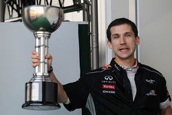 Remi Taffin, Renault Sport F1 Head of Track Operations celebrates on the podium