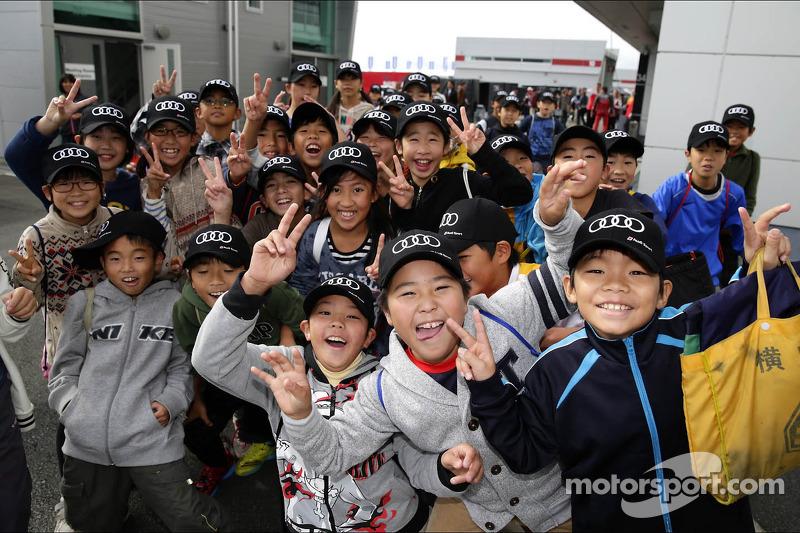 School children visit the track