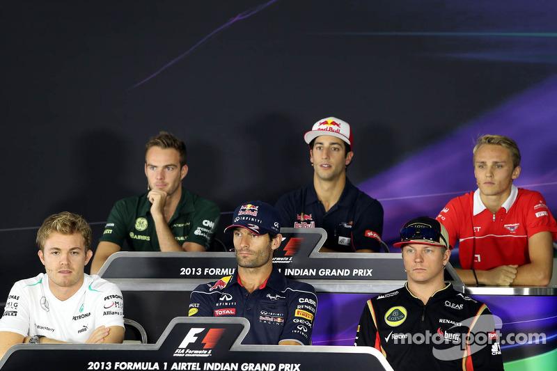 Nico Rosberg, Mercedes GP, Mark Webber, Red Bull Racing, Kimi Raikkonen, Lotus F1 Team, Giedo van der Garde, Caterham F1 Team, Daniel Ricciardo, Scuderia Toro Rosso and Max Chilton, Marussia F1 Team