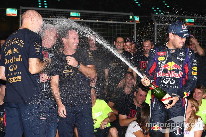 Sebastian Vettel, Red Bull Racing celebrates his 4th championship win with the team