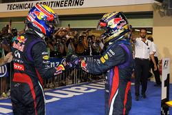 (L to R): Second placed Mark Webber, Red Bull Racing congratulates team mate, race winner, Sebastian Vettel, Red Bull Racing, in parc ferme