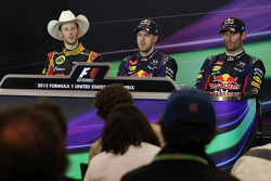 The FIA Press Conference: Romain Grosjean Lotus F1 Team, second; Sebastian Vettel, Red Bull Racing, race winner; Mark Webber, Red Bull Racing, third