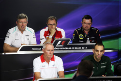 The FIA Press Conference: Ross Brawn, Mercedes AMG F1 Team Principal; Stefano Domenicali, Ferrari General Director; Eric Boullier, Lotus F1 Team Principal; John Booth, Marussia F1 Team Team Principal; Cyril Abiteboul, Caterham F1 Team Principal