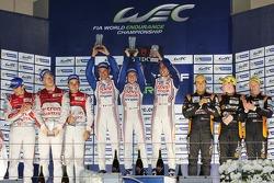 Race winners Anthony Davidson, Sebastien Buemi, Stéphane Sarrazin, second place Andre Lotterer, Benoit Tréluyer, Marcel Fässler, third place Roman Rusinov, John Martin, Mike Conway