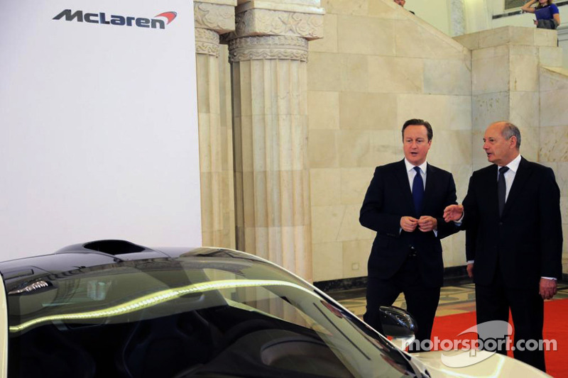 British Prime Minister David Cameron with Ron Dennis, McLaren