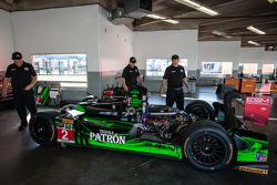 #2 Extreme Speed Motorsports HPD ARX-03b Honda in the garage after a crash
