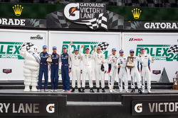 GTLM podium: class winners Nick Tandy, Richard Lietz, Patrick Pilet, second place Bill Auberlen, Andy Priaulx, Joey Hand, Maxime Martin, third place Dominik Farnbacher, Marc Goossens, Ryan Hunter-Reay