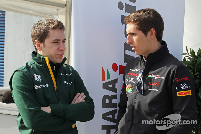 (L to R): Robin Frijns, Caterham Test and Reserve Driver with Daniel Juncadella, Sahara Force India F1 Team Test and Reserve Driver