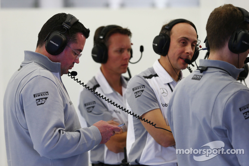 (L to R): Eric Boullier, McLaren Racing Director with Sam Michael, McLaren Sporting Director and Phil Prew, McLaren Race Engineer