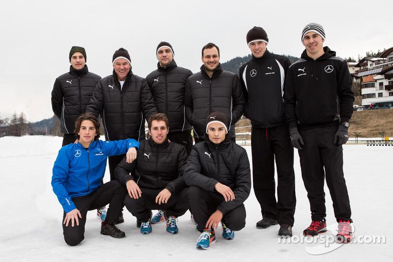 2014 piloti Mercedes DTM a Camp Seefeld per l'allenamento invernale: Paul, Di Resta, Gary Paffett, Pascal Wehrlein, Robert Wickens, Christian Vietoris, Vitaly Petrov, Daniel Juncadella