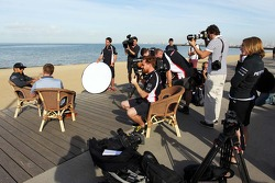 Lewis Hamilton, Mercedes AMG F1 on the beach with the media
