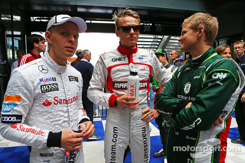 (L to R): Kevin Magnussen, McLaren with Max Chilton, Marussia F1 Team and Marcus Ericsson, Caterham