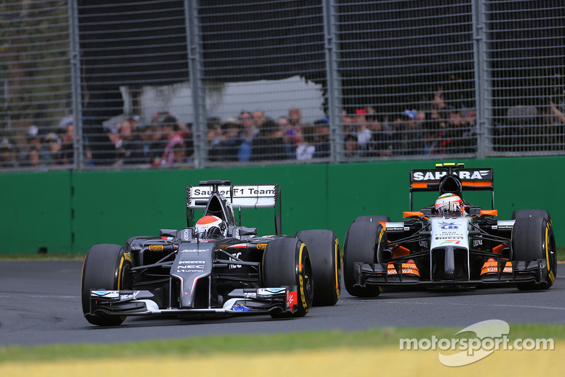 Adrian Sutil, Sauber F1 Team and Sergio Perez, Sahara Force India  16