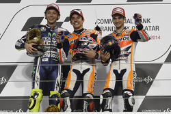 Race winner Marc Marquez, Repsol Honda Team, second place Valentino Rossi, Yamaha Factory Racing, third place Dani Pedrosa, Repsol Honda Team