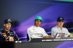 The post race FIA Press Conference, Red Bull Racing, third; Lewis Hamilton, Mercedes AMG F1, race winner; Nico Rosberg, Mercedes AMG F1, seond