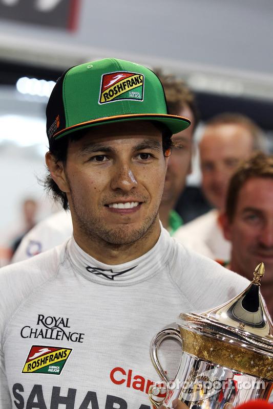 Sergio Perez, Sahara Force India F1 celebra sua terceira posição com a equipe