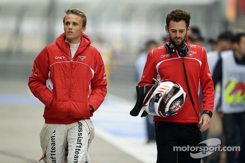 (L to R): Max Chilton, Marussia F1 Team with Sam Village, Marussia F1 Team