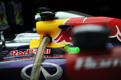 The Red Bull Racing RB10 of Sebastian Vettel, Red Bull Racing in parc ferme