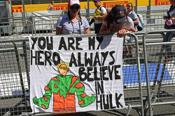 Striscione per Nico Hulkenberg, Sahara Force India F1